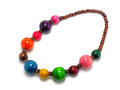 Colorful wood bead necklace Royalty Free Stock Photo
