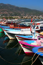 Colorful Wooden Boats of Alanya Stock Photos