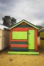 Colorful wooden box an empty and closed brighton bathing Royalty Free Stock Photo