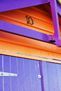 Colorful wooden box orange and purple house Stock Image