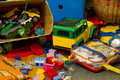 stock image of  Colorful wooden childen`s building blocks scattered loose