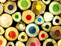 Colorful wooden crayons closely. Royalty Free Stock Photo