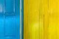 Colorful wooden door and window frames background of a home in countryside Royalty Free Stock Image