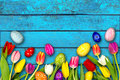 Colorful wooden easter background