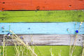 Colorful wooden fence with grass and flowers Royalty Free Stock Photo