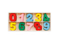 Colorful wooden number in square box. Top view. Isolated on whit Royalty Free Stock Photo