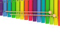 Colorful wooden xylophone with mallets on a white background Royalty Free Stock Photography
