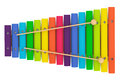 Colorful wooden xylophone with mallets on a white background Royalty Free Stock Images
