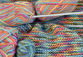 Colorful wool with balls and needles Stock Photography
