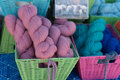Colorful wool in rectangular baskets Royalty Free Stock Photo