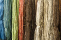 Colorful wool thread background close up Stock Photo