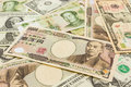 Colorful of world banknotes background dollar japanese yen chinese yuan Stock Photo