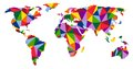Colorful world map continents illustration Royalty Free Stock Images