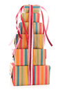 Colorful wrapped presents and flowers Stock Images