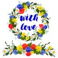 colorful wreath and garland of wild flowers isolated on a white background with love