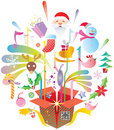 Colorful Xmas Elements out of the Box Stock Photography