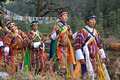 Colorful Yak Festival Procession in Bhutan Village Royalty Free Stock Photo