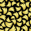 Colorful yellow bananas fruits seamless black pattern