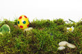 Colorful yellow Easter Egg on moss Royalty Free Stock Images
