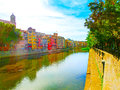 Colorful yellow and orange houses in Girona, Catalonia, Spain. Royalty Free Stock Photo