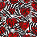 Colorful zebra seamless pattern with heart shape. Royalty Free Stock Photo