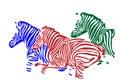 Colorful zebra silhouette