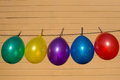 Colorfull balloons on a washing line Royalty Free Stock Photo