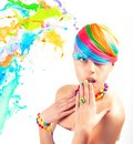 Colorfull beauty fashion portrait with liquid effect Royalty Free Stock Photography