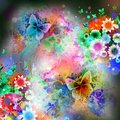Colorfull butterflies in abstract magic  background