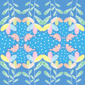 Colorfull flower with butterfly and polkadot flowers green leaf pink polka dot very cute pattern for anything Stock Photo