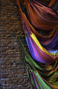 Colorfull hammocks on brick wall Royalty Free Stock Photo