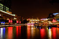 Colorfull night scene of singapore river clark query colorful on city light and dark sky Royalty Free Stock Photography