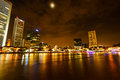 Colorfull Night scene of Singapore river, Clark query Royalty Free Stock Photo