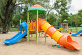Colorfull playground in park Stock Photos