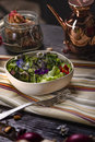 Colorfull Salad with Edible Flowers Royalty Free Stock Photo