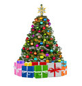 Colorfull xmas tree colorful with many presents Royalty Free Stock Photos