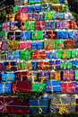 Colorfully arranged Christmas present stack Royalty Free Stock Photo