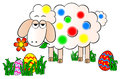 Colorfully painted easter lamb vector illustration of a Stock Image
