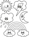 Cute set of cartoon weather icons, vector black and white icons, illustrations for children`s coloring or creativity