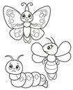Cute set of funny insects, vector black and white illustrations butterfly, bee and caterpillar for children`s coloring or creativi
