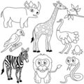 Coloring African Animals [1] Royalty Free Stock Photo