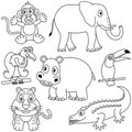 Coloring African Animals [2] Stock Photo