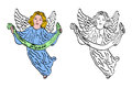 Coloring angel illustration set cartoon isolated over white Royalty Free Stock Photography