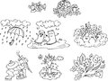 Coloring autumn elements black and white illustration of for children Stock Photo