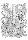 Coloring Book for adult and relax. Guitar. Maxican