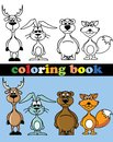 Coloring book of animals illustration picture Royalty Free Stock Image