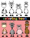 Coloring book of animals illustration picture Royalty Free Stock Photos