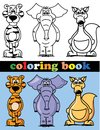 Coloring book of animals illustration picture Royalty Free Stock Images