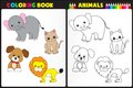 Coloring book animals nature page for kids with colorful and sketches to color Stock Photography