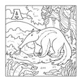Coloring book anteater colorless illustration letter a for children Stock Images